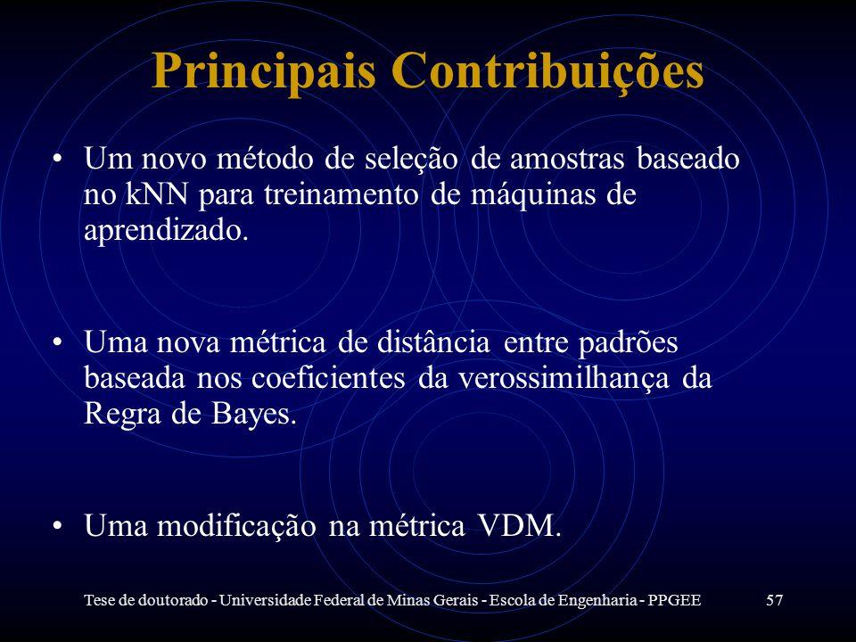 Tese de doutorado - Universidade Federal de Minas Gerais - Escola de Engenharia - PPGEE57 Principais Contribuições Um novo método de seleção de amostr