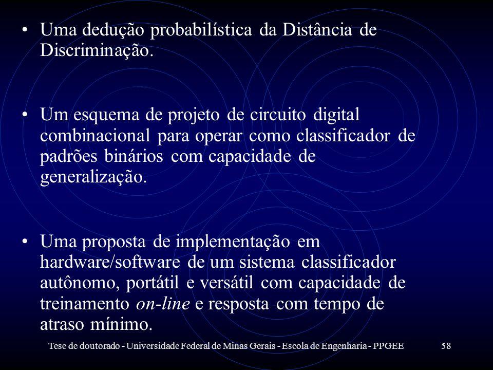 Tese de doutorado - Universidade Federal de Minas Gerais - Escola de Engenharia - PPGEE58 Uma dedução probabilística da Distância de Discriminação. Um