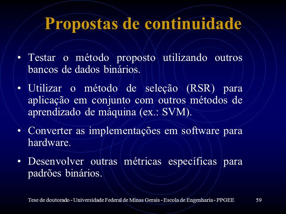 Tese de doutorado - Universidade Federal de Minas Gerais - Escola de Engenharia - PPGEE59 Propostas de continuidade Testar o método proposto utilizand