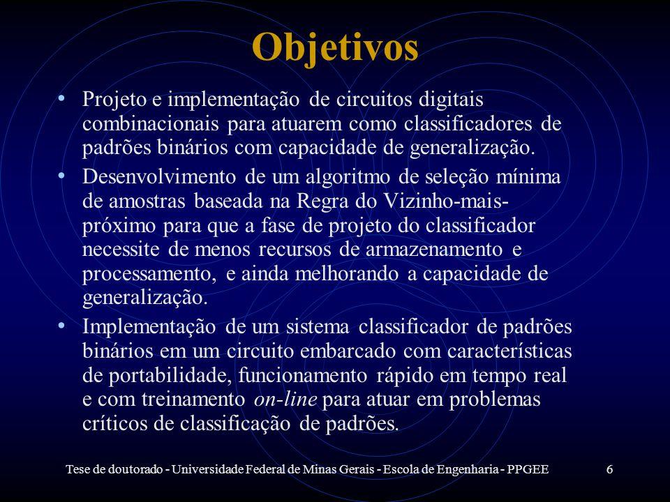 Tese de doutorado - Universidade Federal de Minas Gerais - Escola de Engenharia - PPGEE6 Objetivos Projeto e implementação de circuitos digitais combi