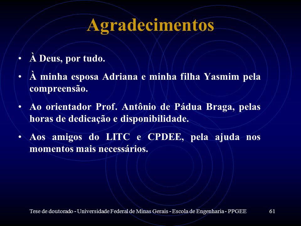 Tese de doutorado - Universidade Federal de Minas Gerais - Escola de Engenharia - PPGEE61 Agradecimentos À Deus, por tudo. À minha esposa Adriana e mi