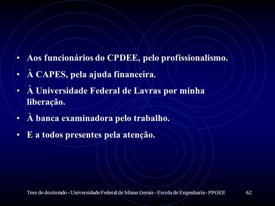Tese de doutorado - Universidade Federal de Minas Gerais - Escola de Engenharia - PPGEE62 Aos funcionários do CPDEE, pelo profissionalismo. À CAPES, p