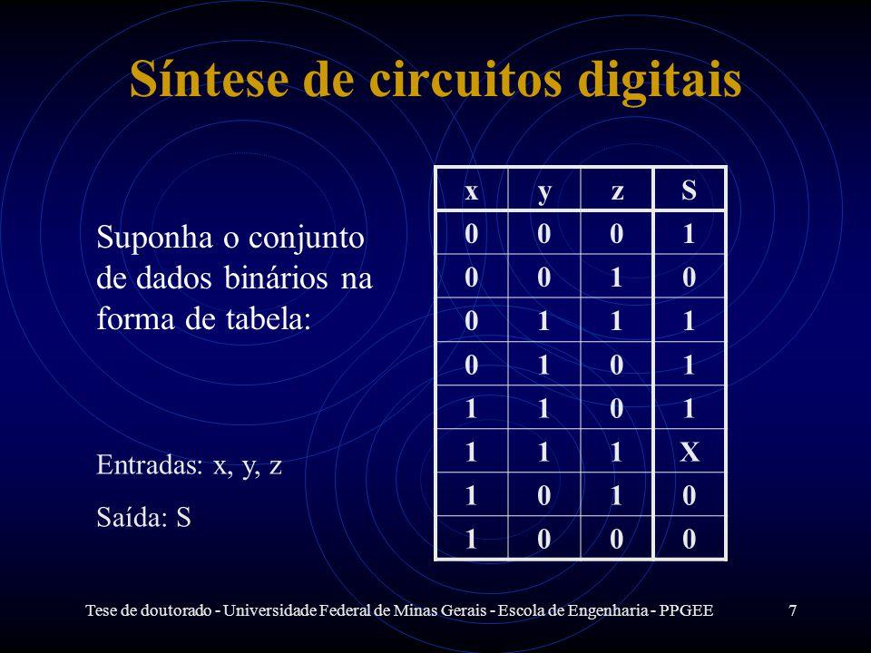 Tese de doutorado - Universidade Federal de Minas Gerais - Escola de Engenharia - PPGEE7 Síntese de circuitos digitais Suponha o conjunto de dados bin