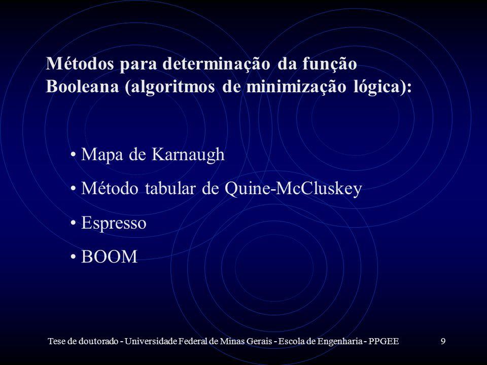 Tese de doutorado - Universidade Federal de Minas Gerais - Escola de Engenharia - PPGEE9 Métodos para determinação da função Booleana (algoritmos de m