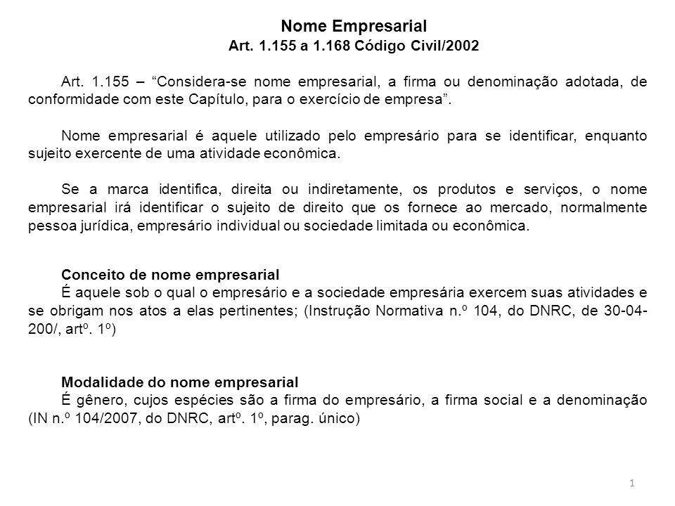 """Nome Empresarial Art. 1.155 a 1.168 Código Civil/2002 Art. 1.155 – """"Considera-se nome empresarial, a firma ou denominação adotada, de conformidade com"""
