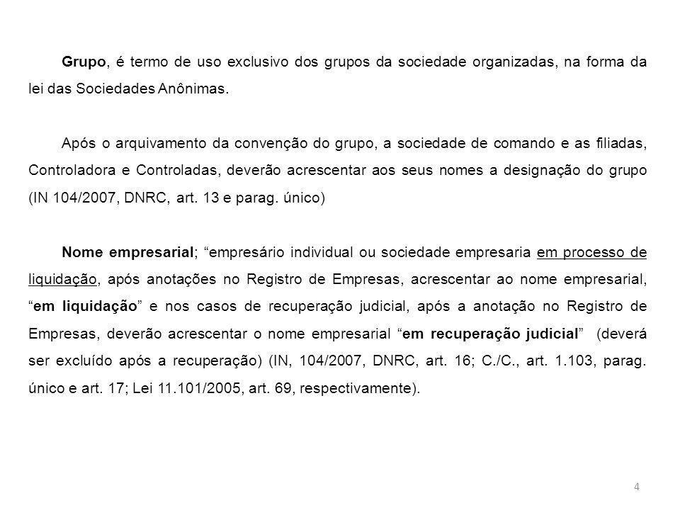 Grupo, é termo de uso exclusivo dos grupos da sociedade organizadas, na forma da lei das Sociedades Anônimas. Após o arquivamento da convenção do grup