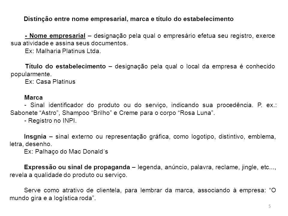 Distinção entre nome empresarial, marca e título do estabelecimento - Nome empresarial – designação pela qual o empresário efetua seu registro, exerce