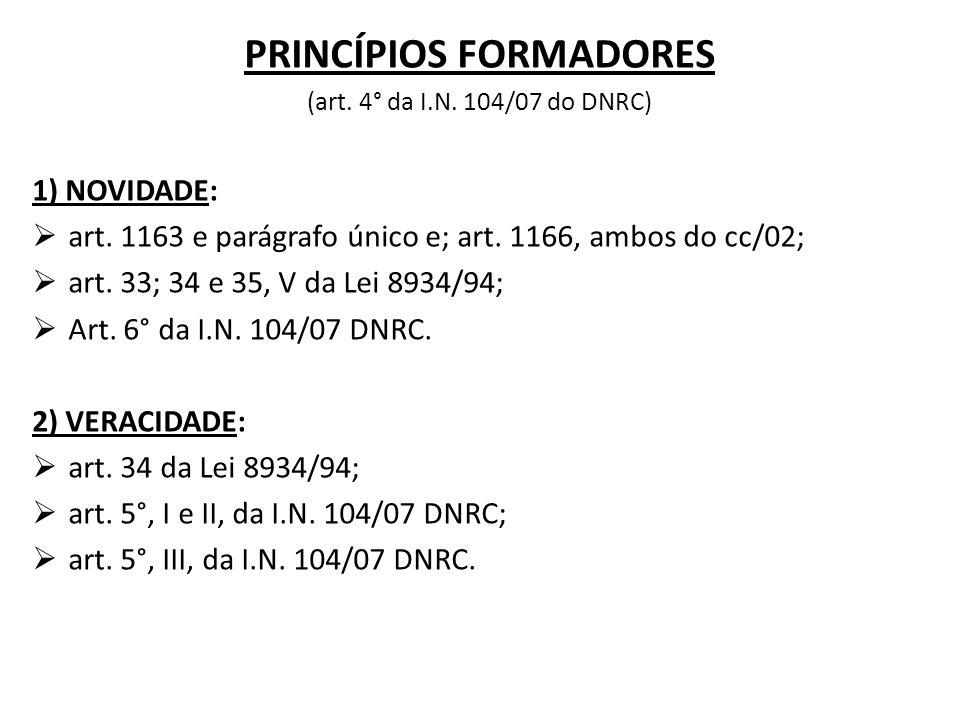 PRINCÍPIOS FORMADORES (art. 4° da I.N. 104/07 do DNRC) 1) NOVIDADE:  art. 1163 e parágrafo único e; art. 1166, ambos do cc/02;  art. 33; 34 e 35, V