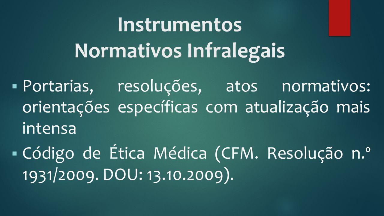 Instrumentos Normativos Infralegais  Portarias, resoluções, atos normativos: orientações específicas com atualização mais intensa  Código de Ética M