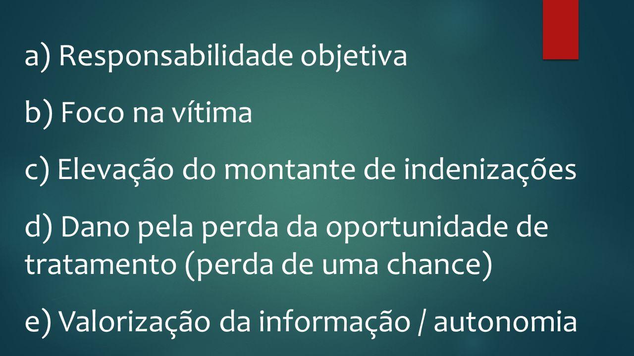 a) Responsabilidade objetiva b) Foco na vítima c) Elevação do montante de indenizações d) Dano pela perda da oportunidade de tratamento (perda de uma