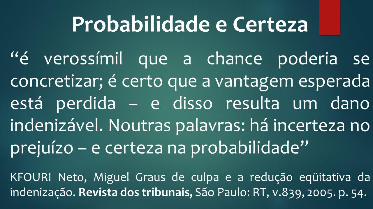 """Probabilidade e Certeza """"é verossímil que a chance poderia se concretizar; é certo que a vantagem esperada está perdida – e disso resulta um dano inde"""