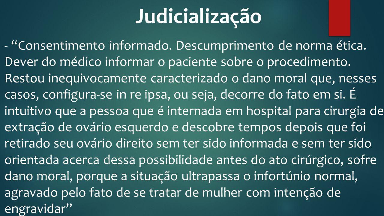 """Judicialização - """"Consentimento informado. Descumprimento de norma ética. Dever do médico informar o paciente sobre o procedimento. Restou inequivocam"""