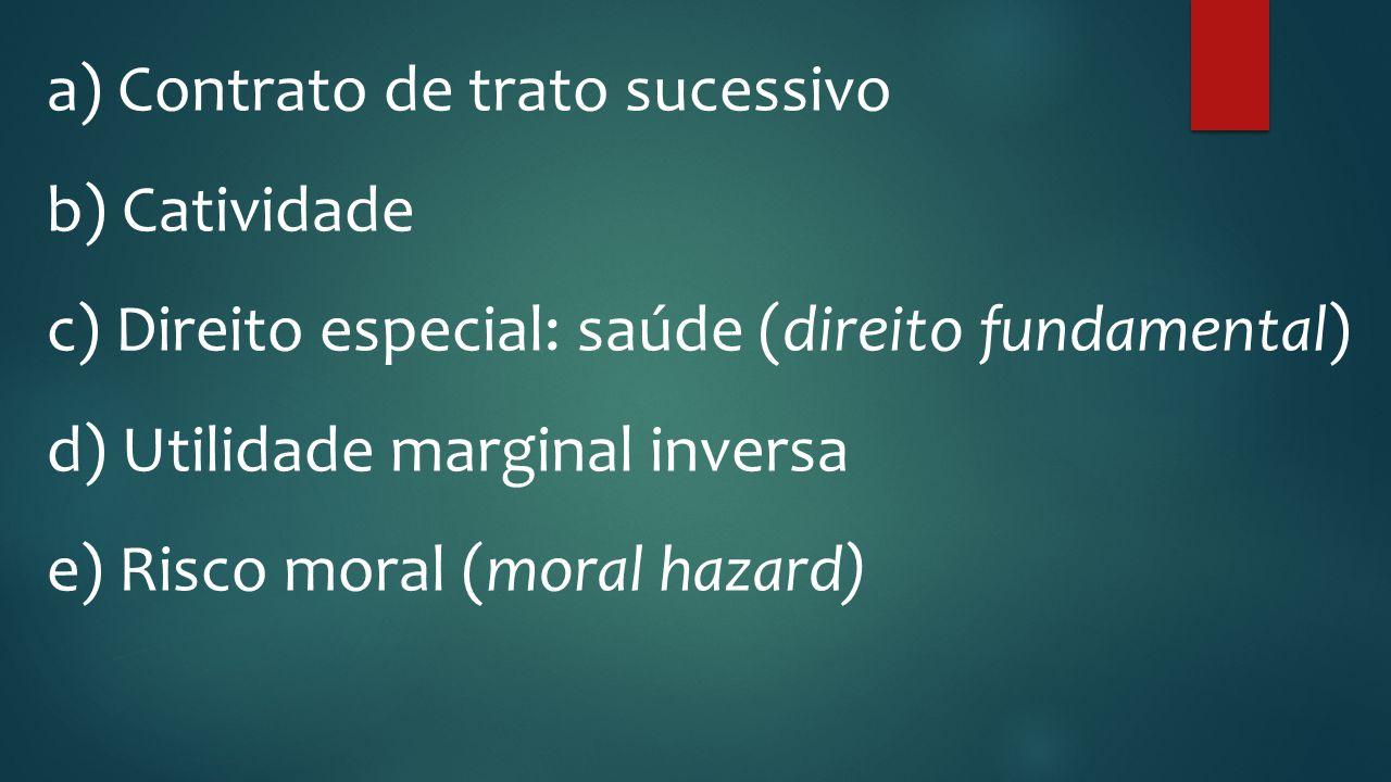 a) Contrato de trato sucessivo b) Catividade c) Direito especial: saúde (direito fundamental) d) Utilidade marginal inversa e) Risco moral (moral haza