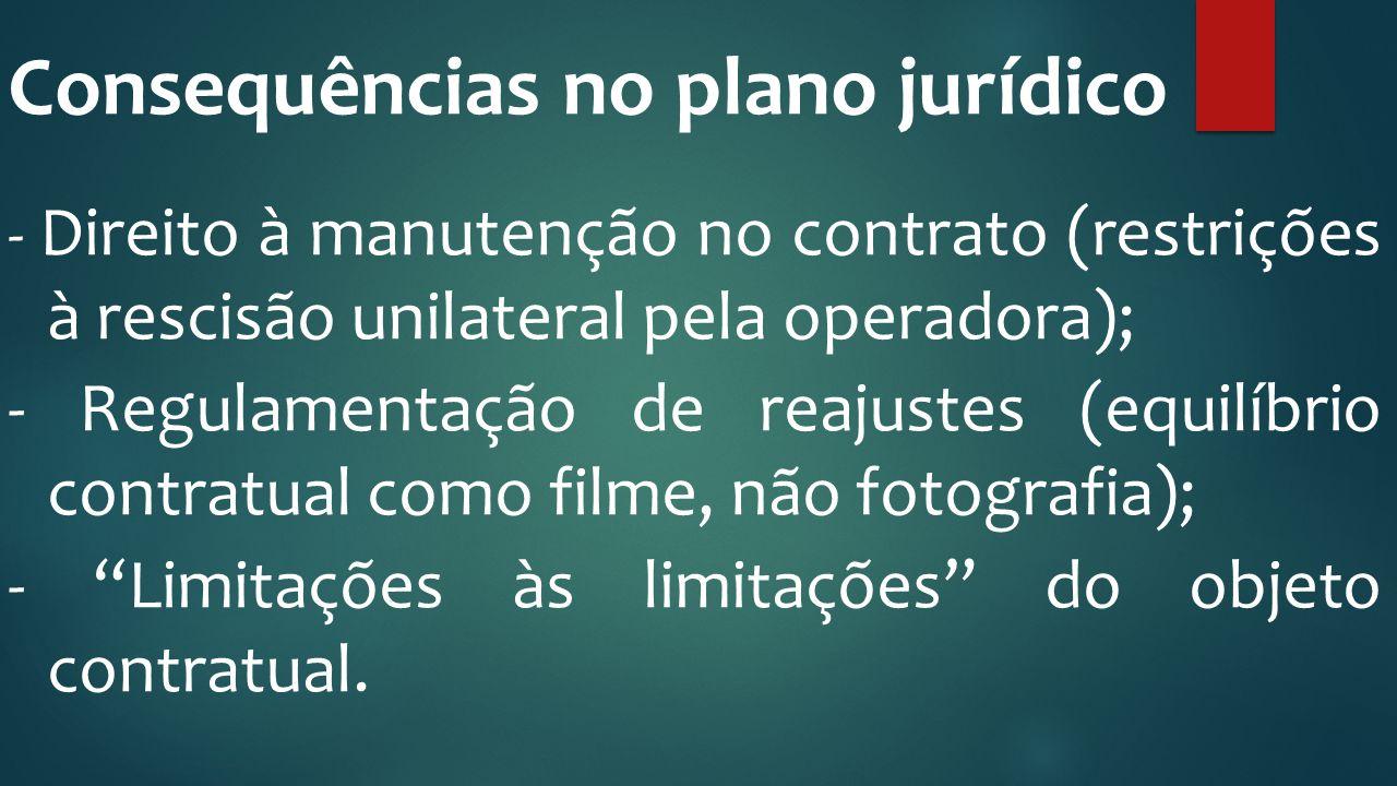 Consequências no plano jurídico - Direito à manutenção no contrato (restrições à rescisão unilateral pela operadora); - Regulamentação de reajustes (e