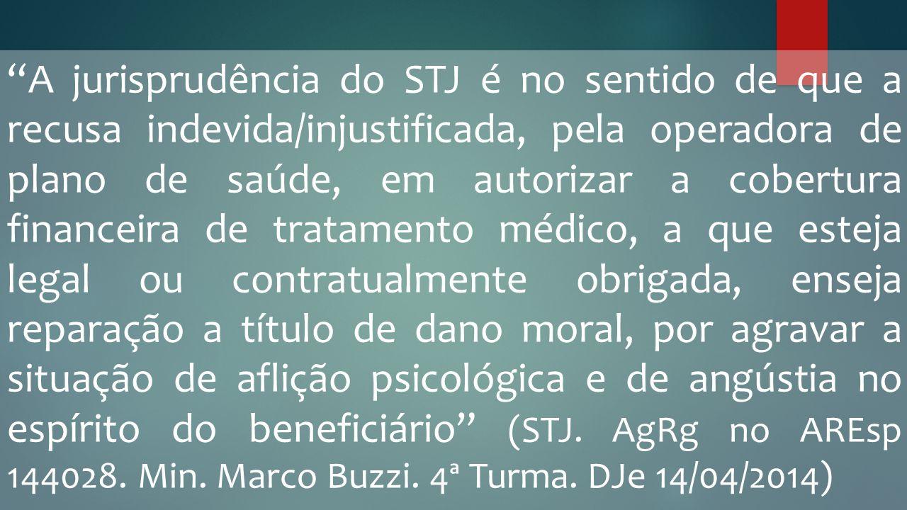 """""""A jurisprudência do STJ é no sentido de que a recusa indevida/injustificada, pela operadora de plano de saúde, em autorizar a cobertura financeira de"""