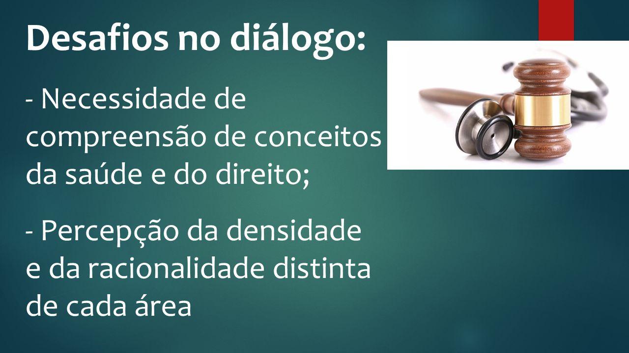 Fonte: Jornale Desafios no diálogo: - Necessidade de compreensão de conceitos da saúde e do direito; - Percepção da densidade e da racionalidade disti