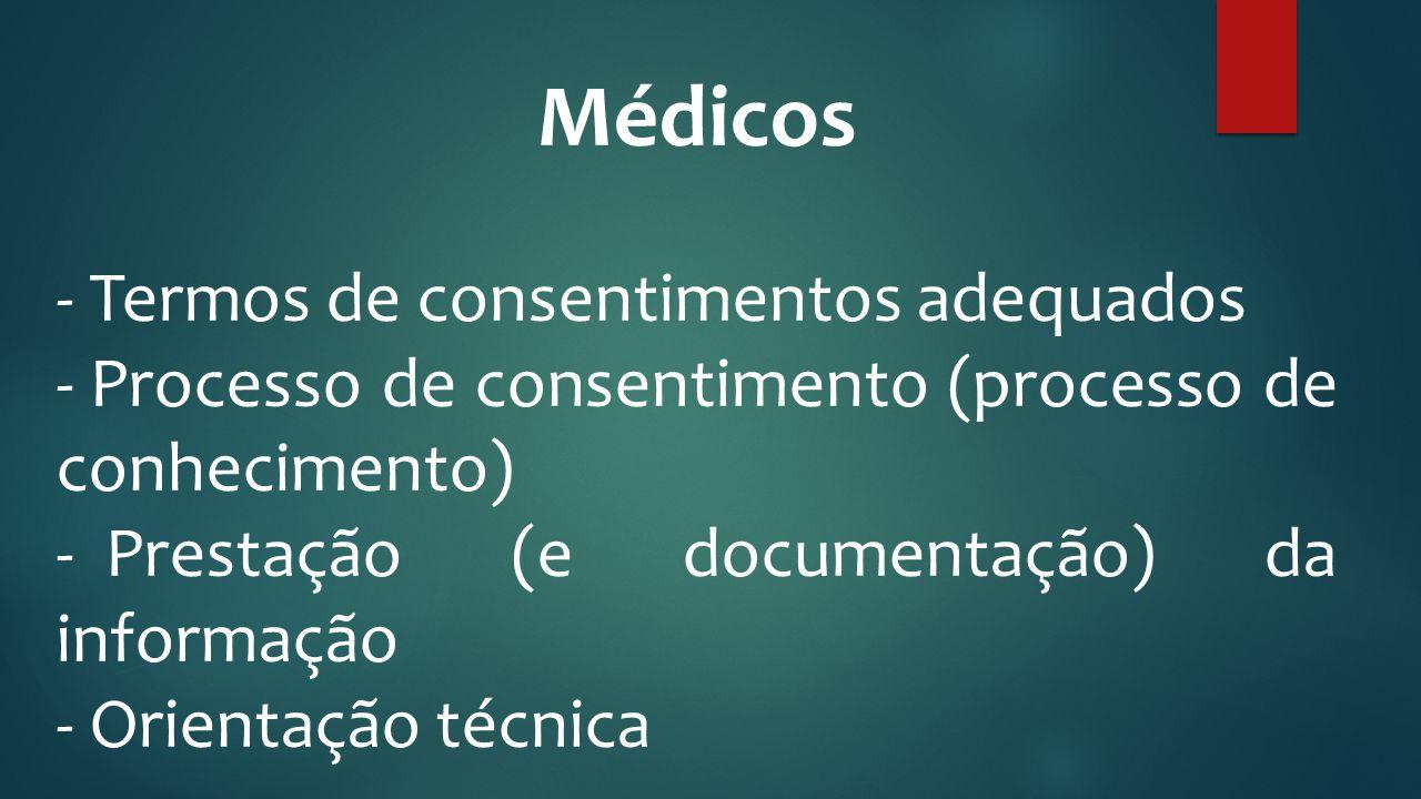 Médicos - Termos de consentimentos adequados - Processo de consentimento (processo de conhecimento) - Prestação (e documentação) da informação - Orien