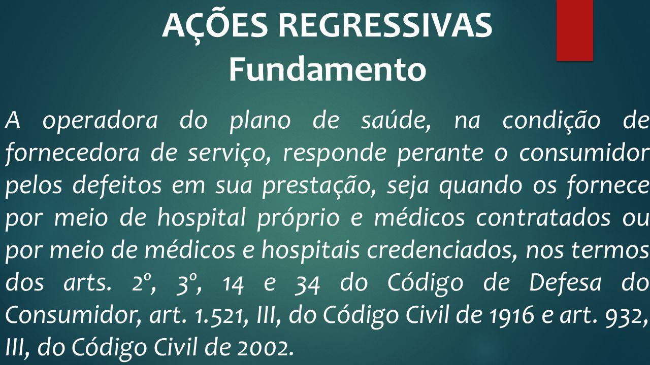 AÇÕES REGRESSIVAS Fundamento A operadora do plano de saúde, na condição de fornecedora de serviço, responde perante o consumidor pelos defeitos em sua