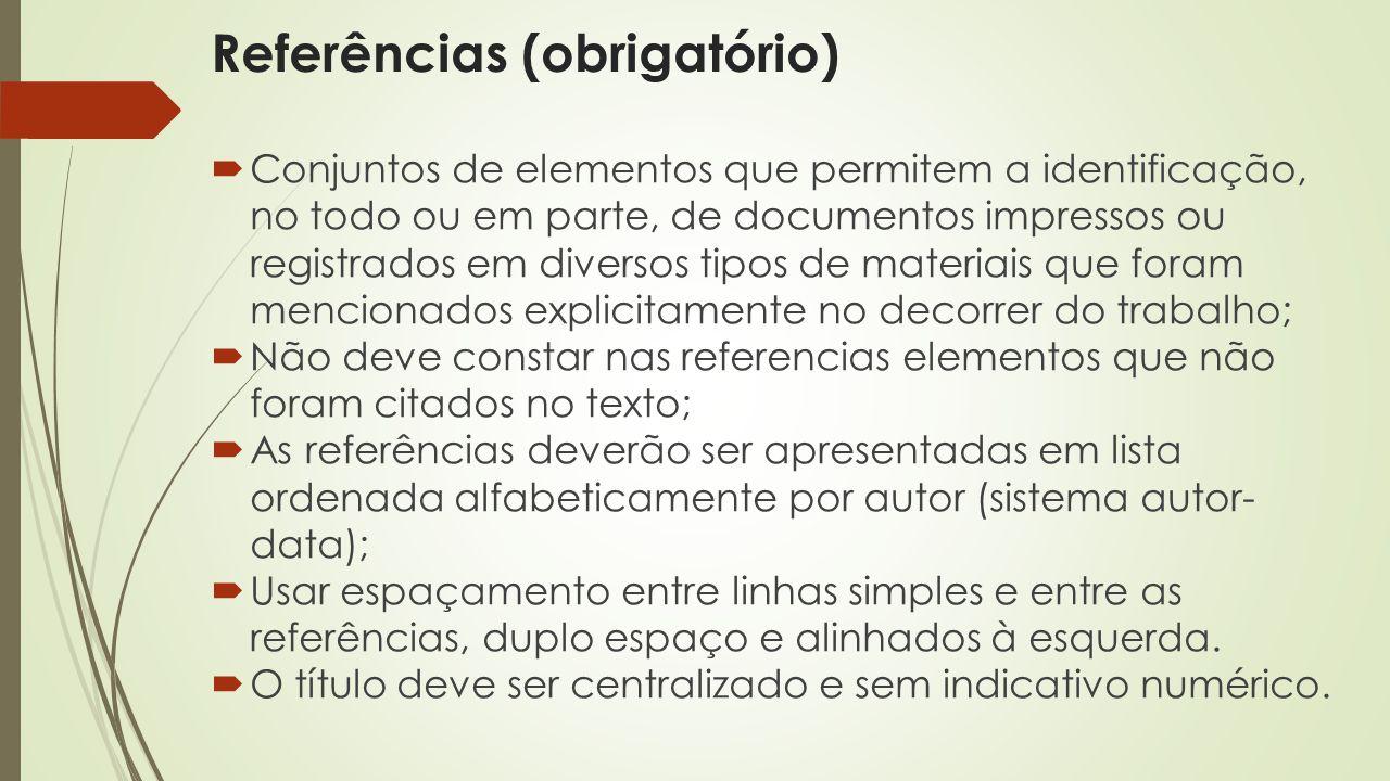 Referências (obrigatório)  Conjuntos de elementos que permitem a identificação, no todo ou em parte, de documentos impressos ou registrados em divers