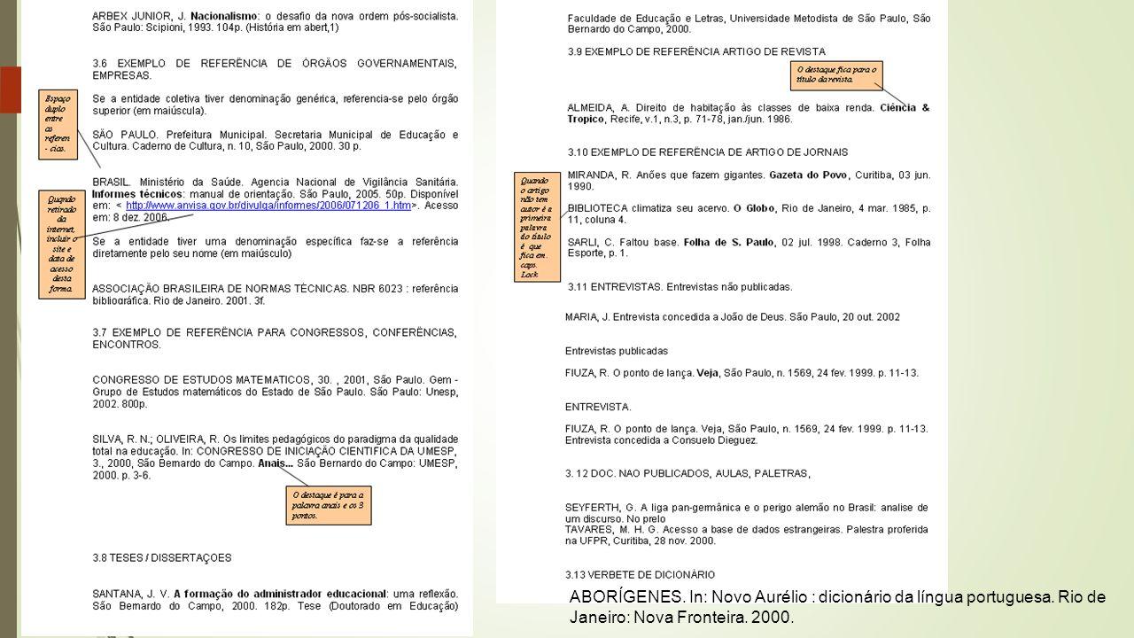 ABORÍGENES.In: Novo Aurélio : dicionário da língua portuguesa.
