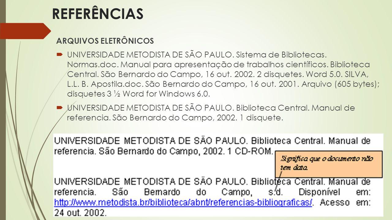 ARQUIVOS ELETRÔNICOS  UNIVERSIDADE METODISTA DE SÃO PAULO. Sistema de Bibliotecas. Normas.doc. Manual para apresentação de trabalhos científicos. Bib