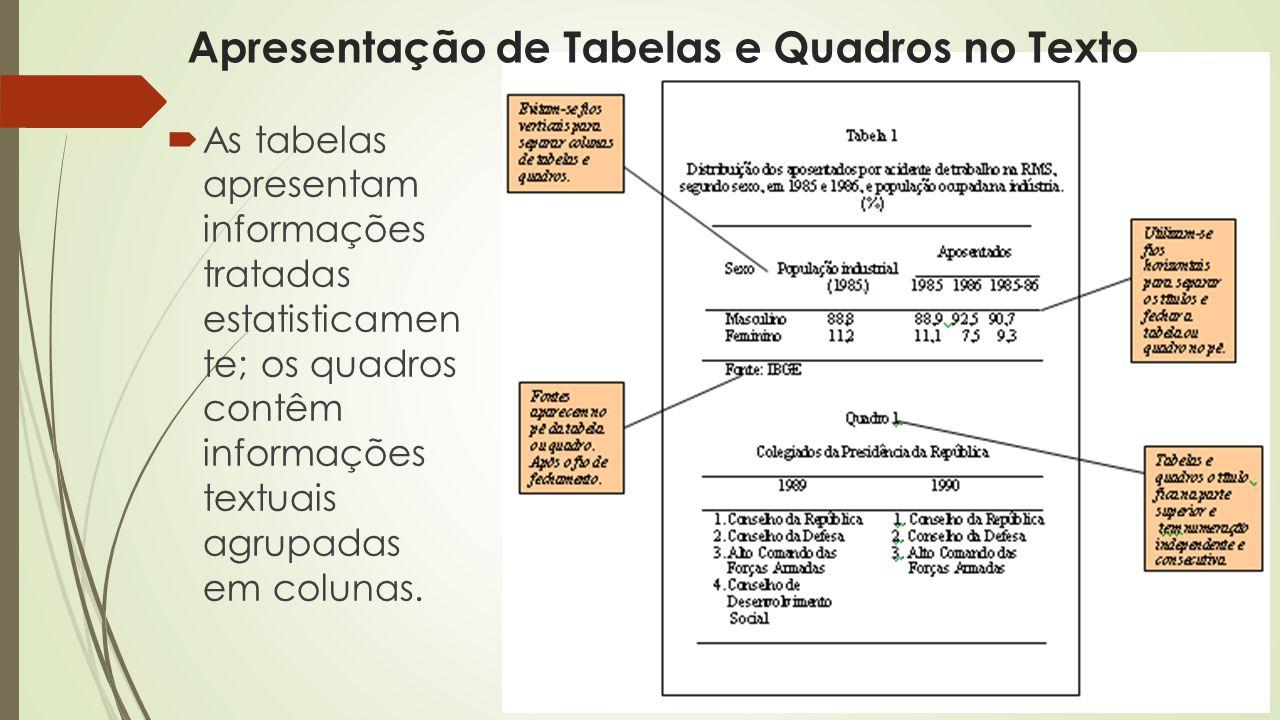 Apresentação de Tabelas e Quadros no Texto  As tabelas apresentam informações tratadas estatisticamen te; os quadros contêm informações textuais agrupadas em colunas.