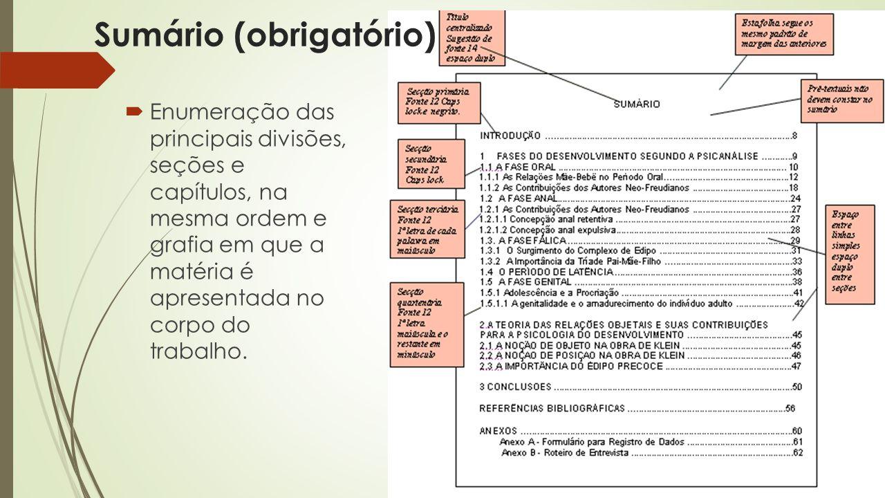 Sumário (obrigatório)  Enumeração das principais divisões, seções e capítulos, na mesma ordem e grafia em que a matéria é apresentada no corpo do trabalho.