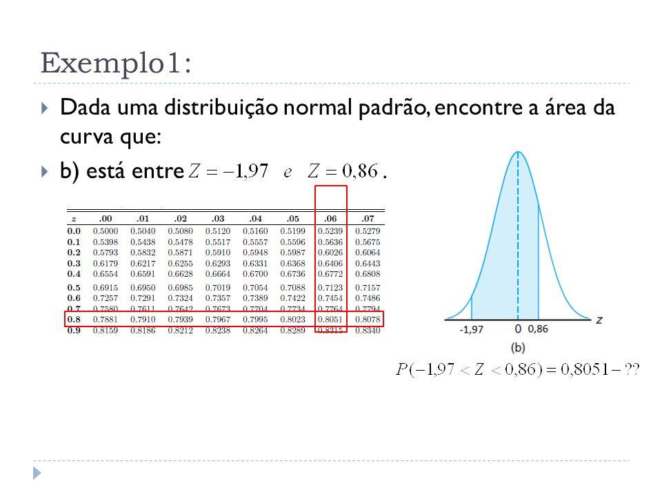 Exemplo1:  Dada uma distribuição normal padrão, encontre a área da curva que:  b) está entre.