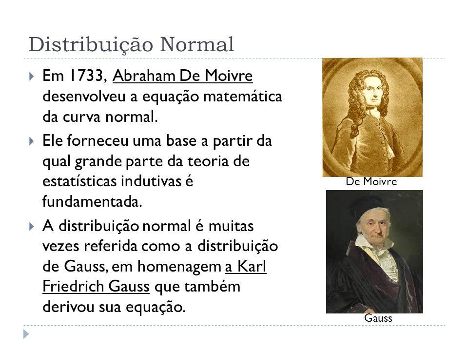 Distribuição Normal  Em 1733, Abraham De Moivre desenvolveu a equação matemática da curva normal.  Ele forneceu uma base a partir da qual grande par