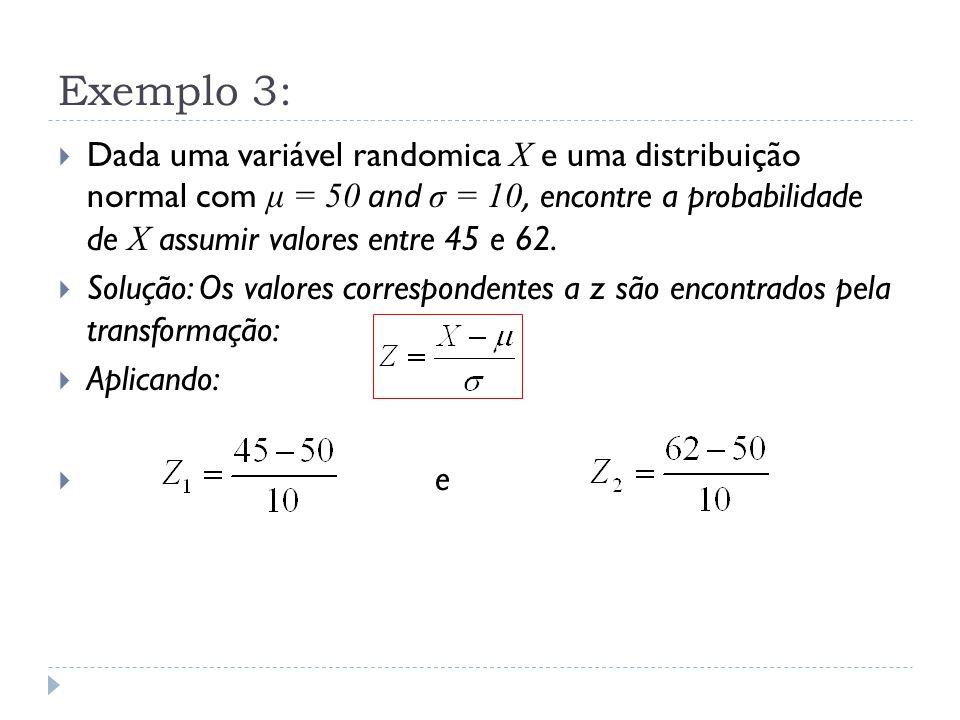 Exemplo 3:  Dada uma variável randomica X e uma distribuição normal com μ = 50 and σ = 10, encontre a probabilidade de X assumir valores entre 45 e 6