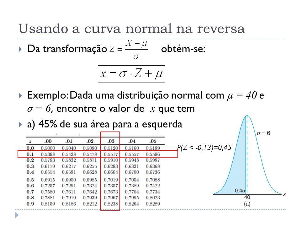Usando a curva normal na reversa  Da transformação obtém-se:  Exemplo: Dada uma distribuição normal com μ = 40 e σ = 6, encontre o valor de x que te