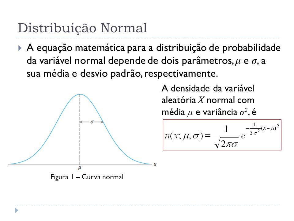 Distribuição Normal  A equação matemática para a distribuição de probabilidade da variável normal depende de dois parâmetros, μ e σ, a sua média e desvio padrão, respectivamente.