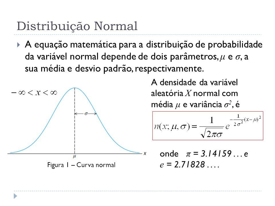 Distribuição Normal  A equação matemática para a distribuição de probabilidade da variável normal depende de dois parâmetros, μ e σ, a sua média e de