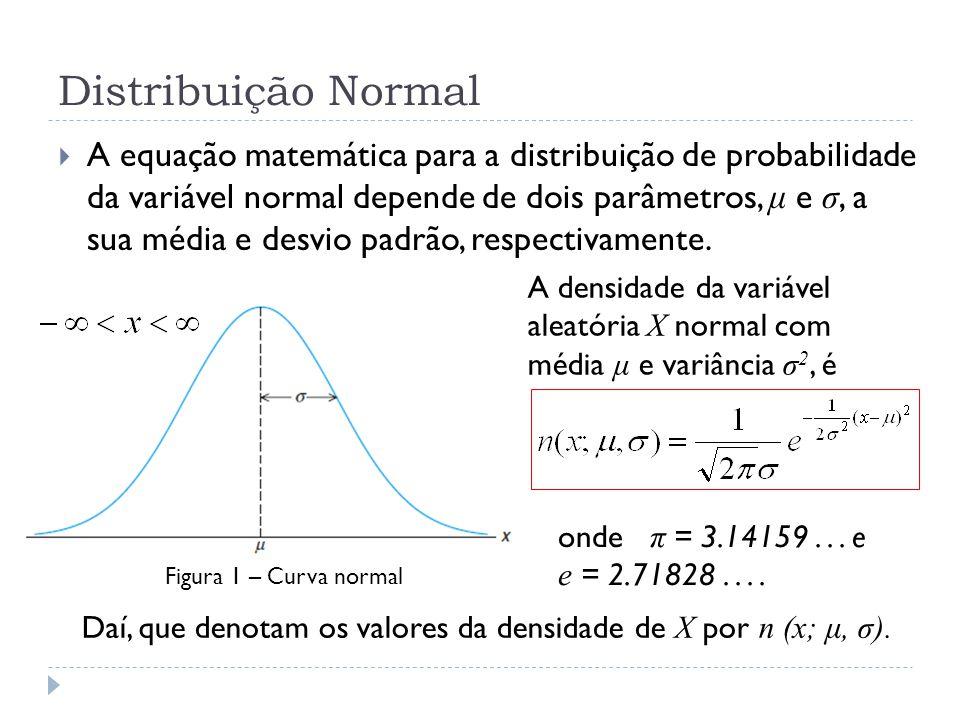 Exemplo 3 P(45 < X < 62) = P( − 0,5 < Z < 1,2) = P(Z < 1,2) − P(Z < − 0,5) = 0,8849 − (1 − P(Z < 0,5)) = 0,8849 − (1 − 0,6915) = 0,8849 − 0,3085 = 0,5764