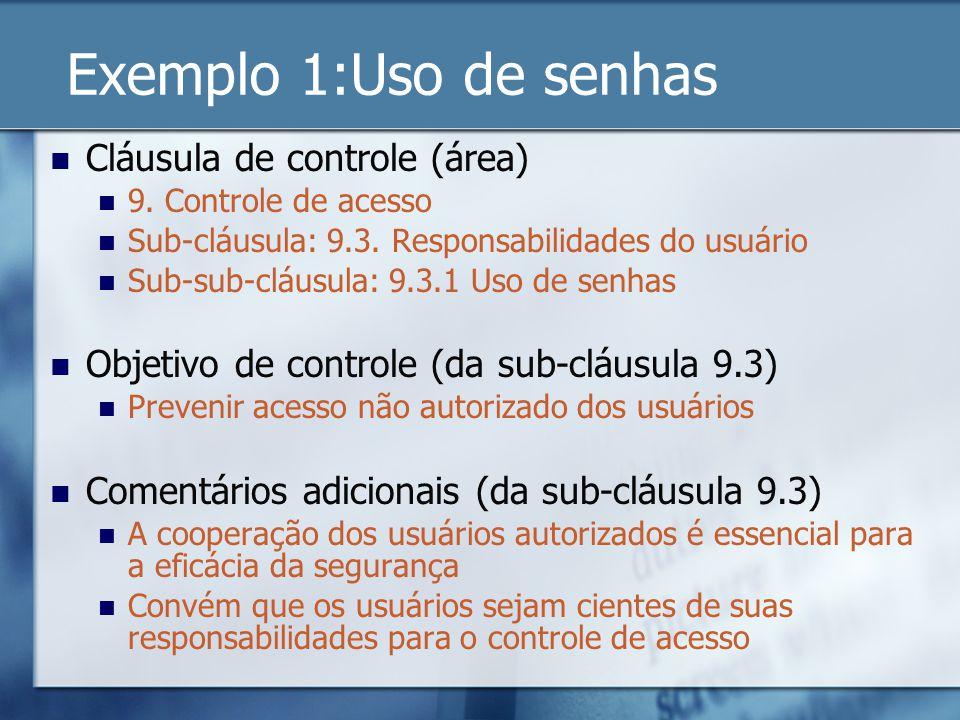 Exemplo 1:Uso de senhas Cláusula de controle (área) 9. Controle de acesso Sub-cláusula: 9.3. Responsabilidades do usuário Sub-sub-cláusula: 9.3.1 Uso
