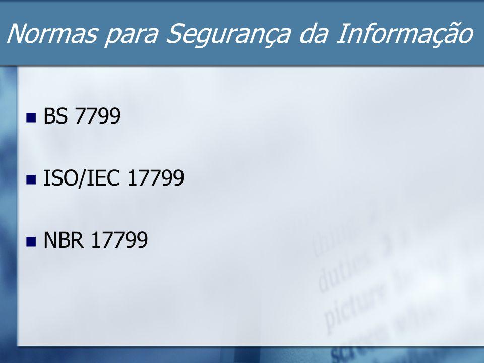 Normas para Segurança da Informação BS 7799 ISO/IEC 17799 NBR 17799