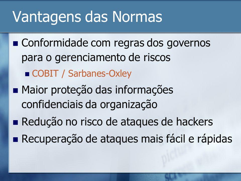 Vantagens das Normas Conformidade com regras dos governos para o gerenciamento de riscos COBIT / Sarbanes-Oxley Maior proteção das informações confidenciais da organização Redução no risco de ataques de hackers Recuperação de ataques mais fácil e rápidas