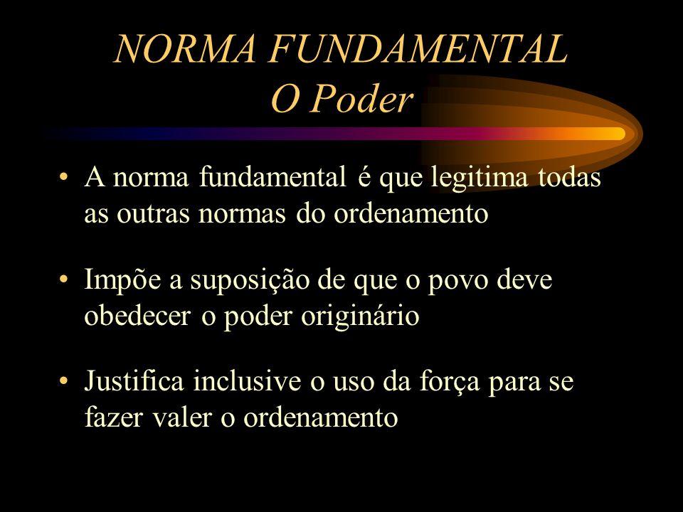 A norma fundamental é que legitima todas as outras normas do ordenamento Impõe a suposição de que o povo deve obedecer o poder originário Justifica in