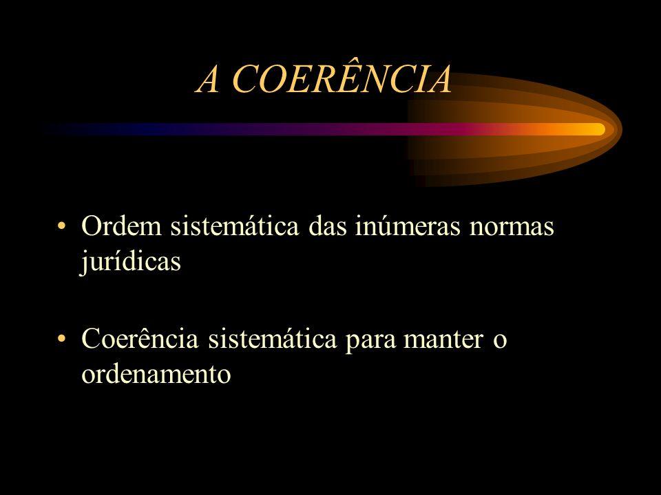 A COERÊNCIA Ordem sistemática das inúmeras normas jurídicas Coerência sistemática para manter o ordenamento