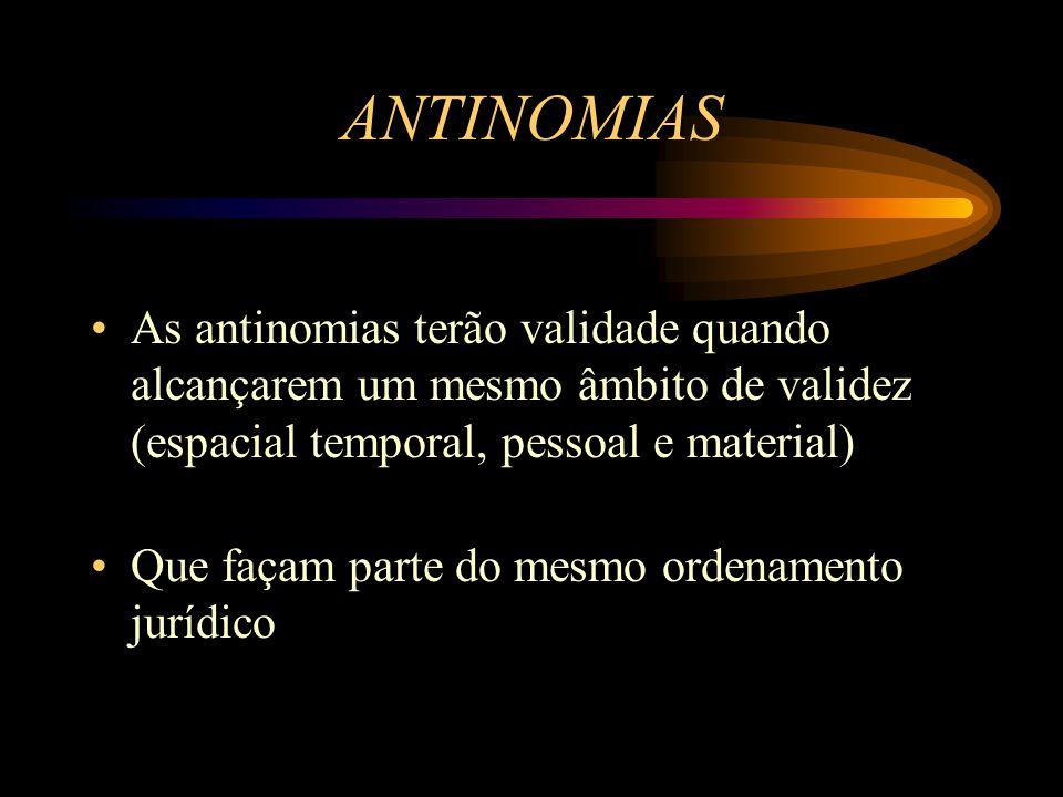 As antinomias terão validade quando alcançarem um mesmo âmbito de validez (espacial temporal, pessoal e material) Que façam parte do mesmo ordenamento