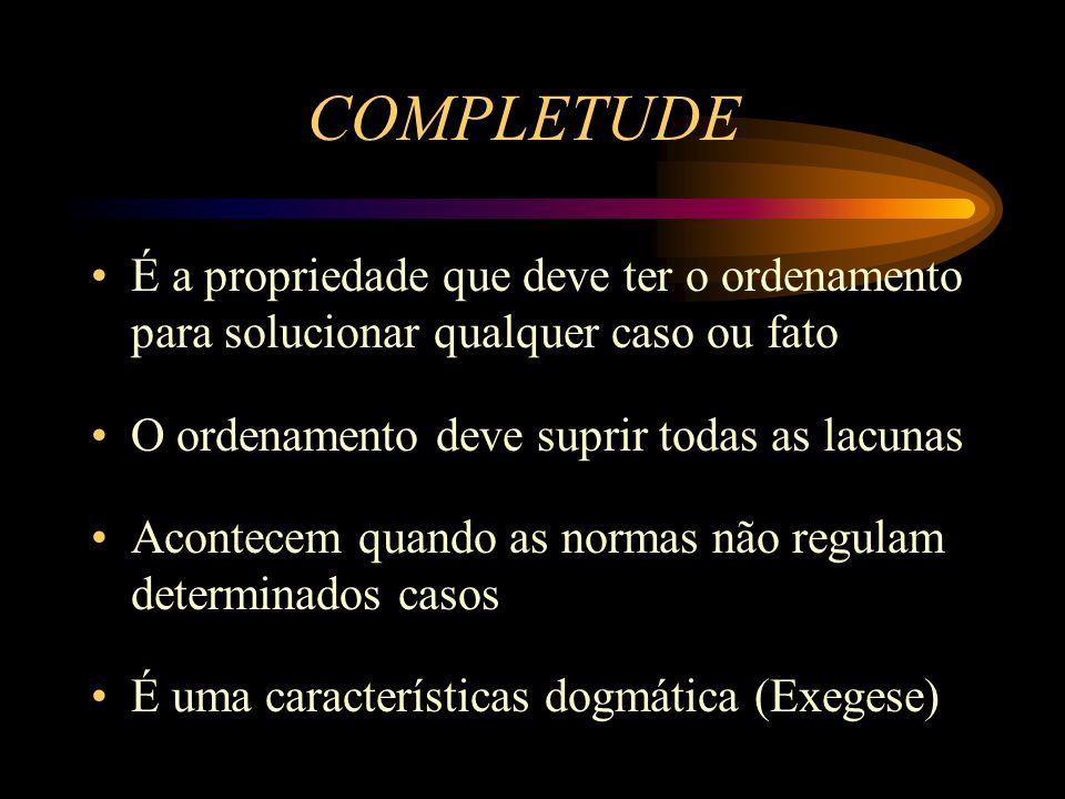 COMPLETUDE É a propriedade que deve ter o ordenamento para solucionar qualquer caso ou fato O ordenamento deve suprir todas as lacunas Acontecem quand