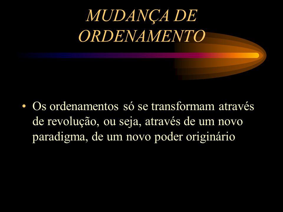 MUDANÇA DE ORDENAMENTO Os ordenamentos só se transformam através de revolução, ou seja, através de um novo paradigma, de um novo poder originário