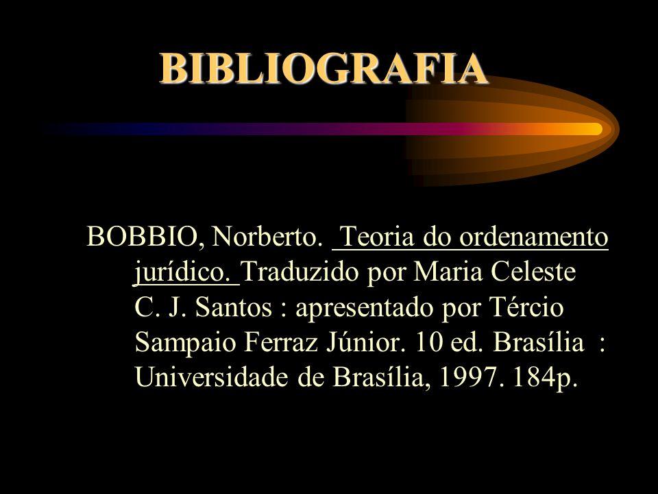 BIBLIOGRAFIA BOBBIO, Norberto. Teoria do ordenamento jurídico. Traduzido por Maria Celeste C. J. Santos : apresentado por Tércio Sampaio Ferraz Júnior