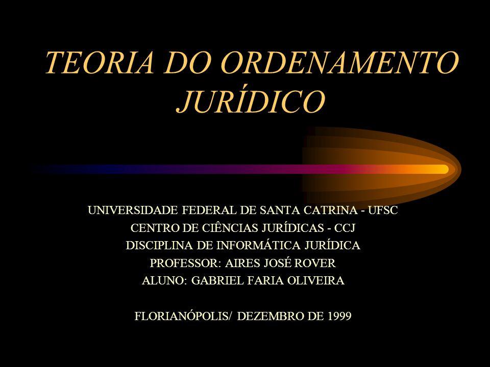 TEORIA DO ORDENAMENTO JURÍDICO UNIVERSIDADE FEDERAL DE SANTA CATRINA - UFSC CENTRO DE CIÊNCIAS JURÍDICAS - CCJ DISCIPLINA DE INFORMÁTICA JURÍDICA PROF