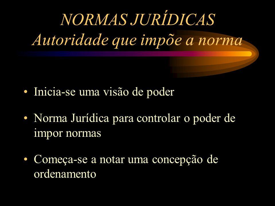 Inicia-se uma visão de poder Norma Jurídica para controlar o poder de impor normas Começa-se a notar uma concepção de ordenamento NORMAS JURÍDICAS Aut