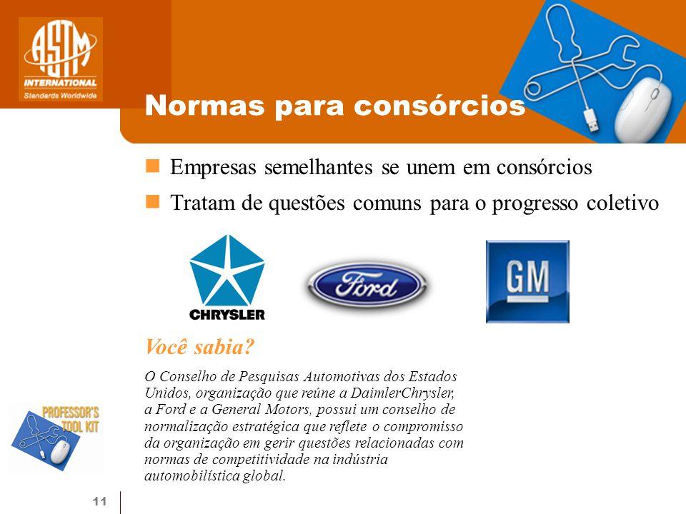 11 Normas para consórcios Você sabia? O Conselho de Pesquisas Automotivas dos Estados Unidos, organização que reúne a DaimlerChrysler, a Ford e a Gene