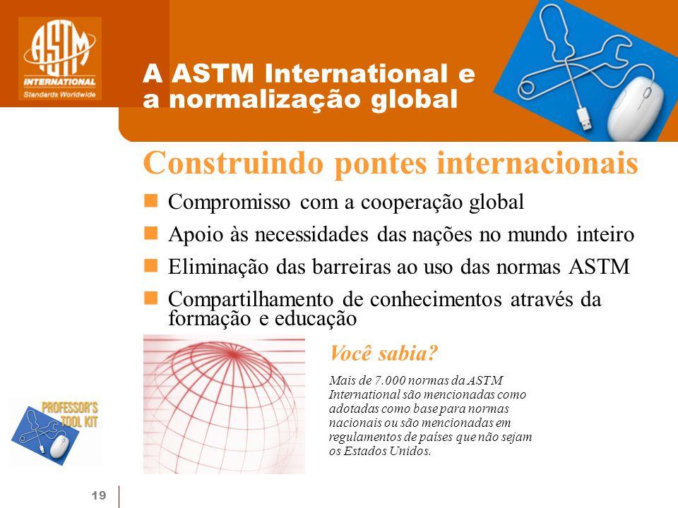 19 A ASTM International e a normalização global Construindo pontes internacionais Compromisso com a cooperação global Apoio às necessidades das nações no mundo inteiro Eliminação das barreiras ao uso das normas ASTM Compartilhamento de conhecimentos através da formação e educação Você sabia.