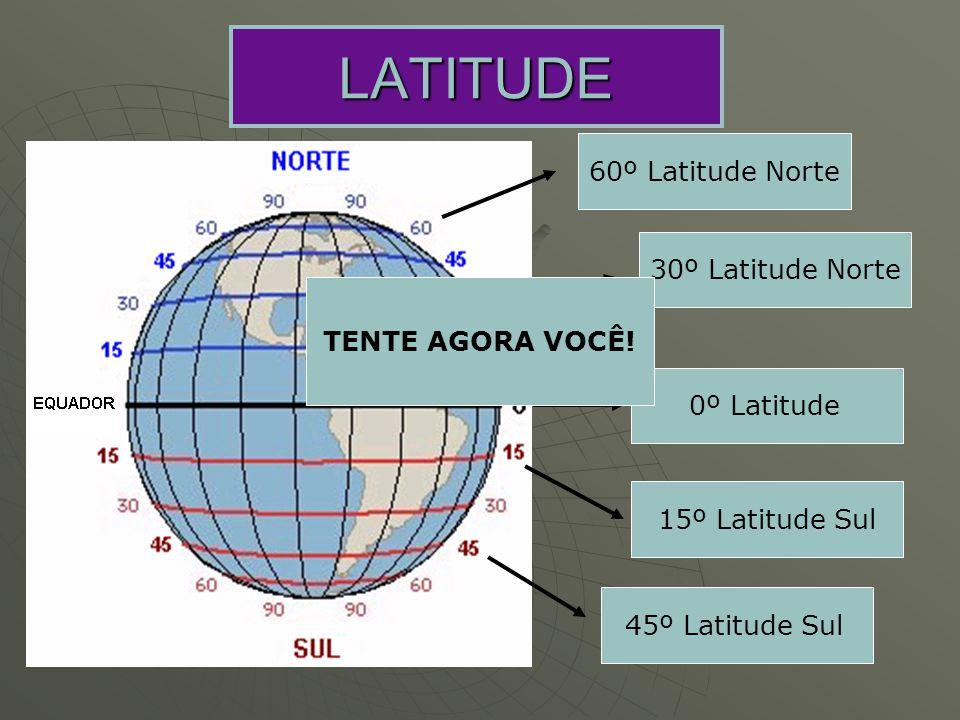 LATITUDE 60º Latitude Norte 30º Latitude Norte 0º Latitude 15º Latitude Sul 45º Latitude Sul TENTE AGORA VOCÊ!