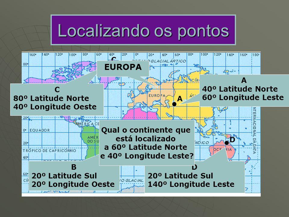 Localizando os pontos A B C D A 40º Latitude Norte 60º Longitude Leste B 20º Latitude Sul 20º Longitude Oeste C 80º Latitude Norte 40º Longitude Oeste