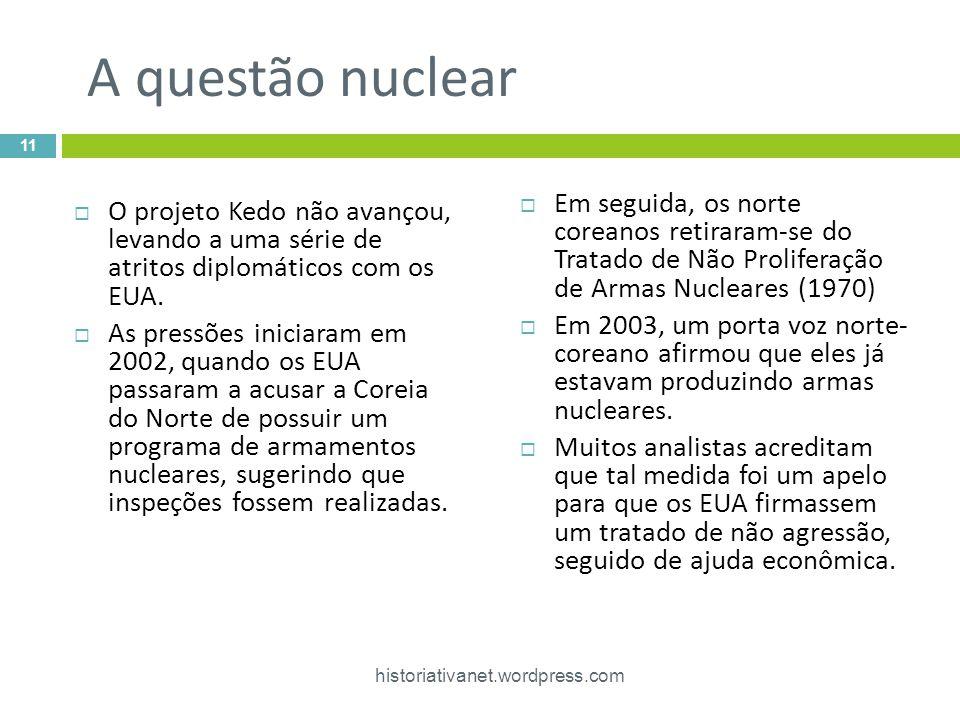 A questão nuclear  O projeto Kedo não avançou, levando a uma série de atritos diplomáticos com os EUA.